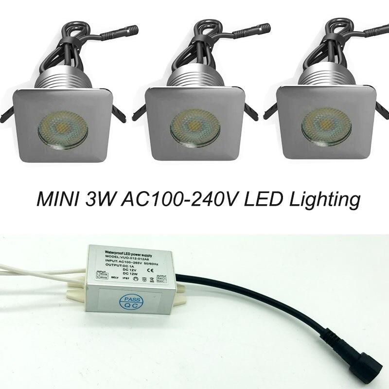 Işıklar ve Aydınlatma'ten LED Gömme Işıklar'de Paslanmaz çelik IP67 3Watt CREE 12V 24V LED yeraltı ışık + su geçirmez güç kaynağı + tel + konnektörler merdiven aydınlatma