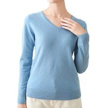 Camisola de lã de malha de manga comprida com decote em v das mulheres do alfaiate