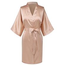 Женское кимоно шампанского большого размера 3XL, ночная рубашка, сексуальное повседневное мягкое ночное белье, домашняя одежда, пижамы с коротким рукавом
