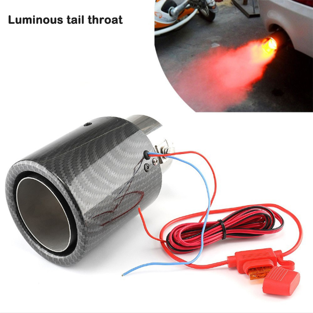Carbon Fiber Luminous Tail Throat With High Temperature Resistant Led Light Modified Car Exhaust Pipe Universal Stainless Steel
