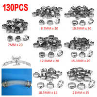 130pcs Single Ear Hose Clamps 7 Sizes Stainless Steel Water Pipe Hose Clamp Mixed Assorted Set for Sealing All Kinds of Hose