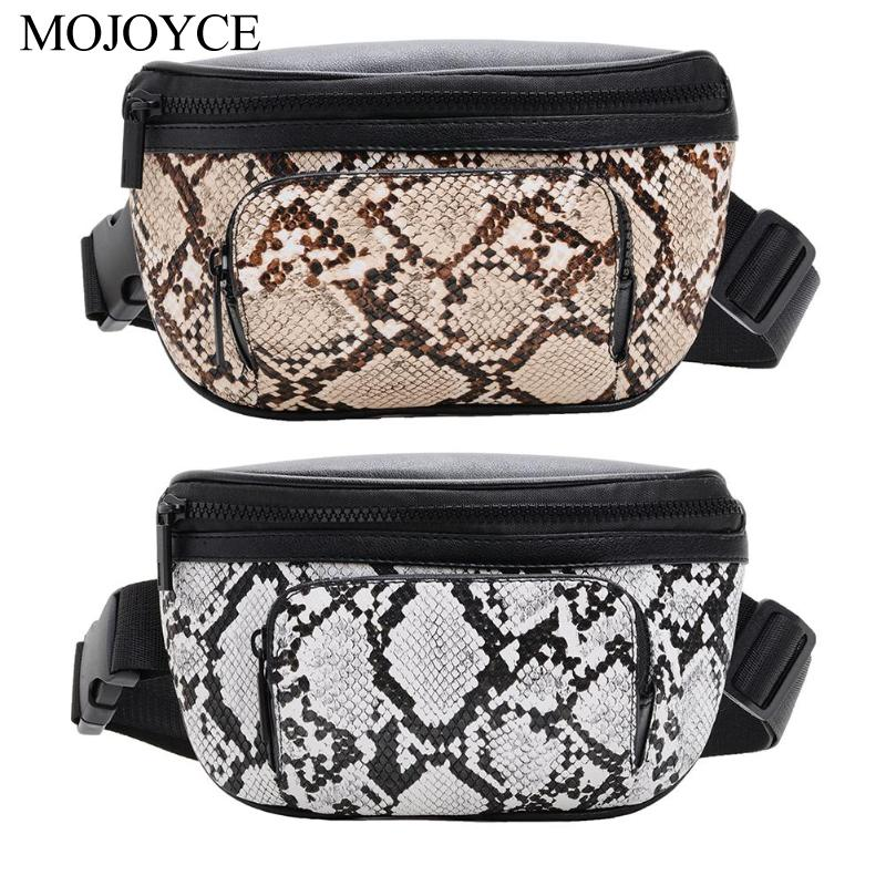 Snake Print Women Waist Fanny Belt Packs PU Leather Excellent Quality Shoulder Chest Bags Crossbody Casual Messenger Chest Bags
