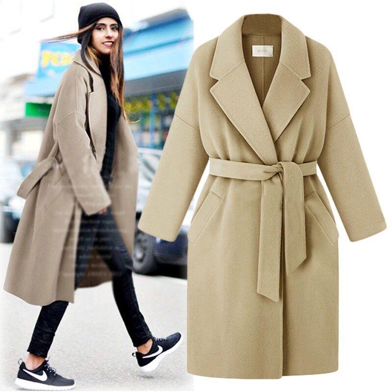 Nouvelle mode 2019 printemps hiver Cassic Simple coton Maxi Robe Long manteau avec ceinture gris vêtements d'extérieur décontractés manteau femme