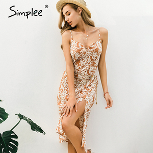 Image 2 - Simplee Sexy spaghetti strap women dress Elegant v neck floral print high split female sundress Summer beach ladies midi dresses