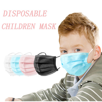 Black Pink Child Mask Disposable Protective Face Mask 3 Layer Nonwoven Anti-bacterial Dustproof Mouth Face Mask for Kids Health 1