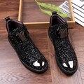 4000259520270 - Nuevos zapatos informales a la moda con cremallera para exteriores, zapatos de tacón alto para hombre, botas antideslizantes para hombre, zapatos planos de fiesta para conducir para hombre