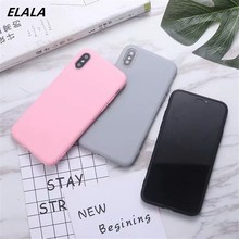 ELALA Cartoon Duck Liquid Silicone Case For iPhone 6s Matte Soft TPU Cover 6 6S 7 8 Plus X Xr Xs Max Candy Cases