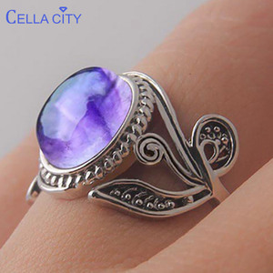 Cellacity Vintage amethyst 925 silver ring with round natural gemstone Wedding Engagement silver women Fine Jewelry Size 6-10(China)