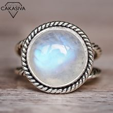 Exaggerated Punk Moonstone Ring Vintage Thai Silver Round Engagement Wedding Ring Jewelry for Women 925 antique Thai Silver Ring