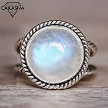 Exaggerated Punk Moonstone Ring Vintage Thai Silver Round Engagement Wedding Ring Jewelry for Women 925 antique Thai Silver Ring(China)