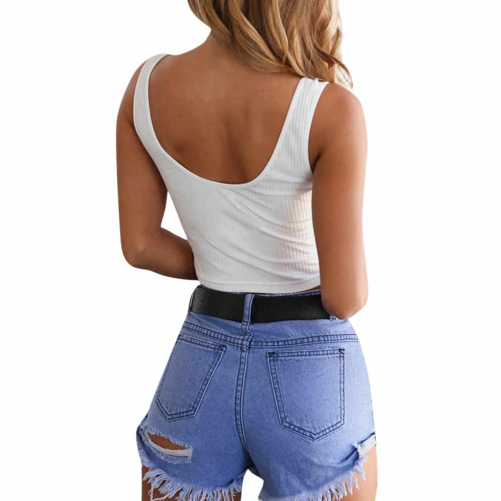 2020 mujeres Sexy sólido Strappy Tanks chaleco Crop Top verano sin mangas botón camiseta chaleco sin hombro blusa tipo Halter camiseta wh