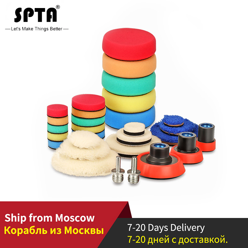 SPTA 29Pcs Imported Polishing Pad Kit With M14 Thread Back Plate&Adapter Fine Wool Pad Waxing Sponge Car Polish Buffing Pad Kit