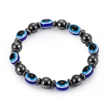 1PC Magnetic Blue Evil Eye Bracelet Hematite Beads Slimming Bracelets for Women Men Weight Loss Stone Therapy Jewelry