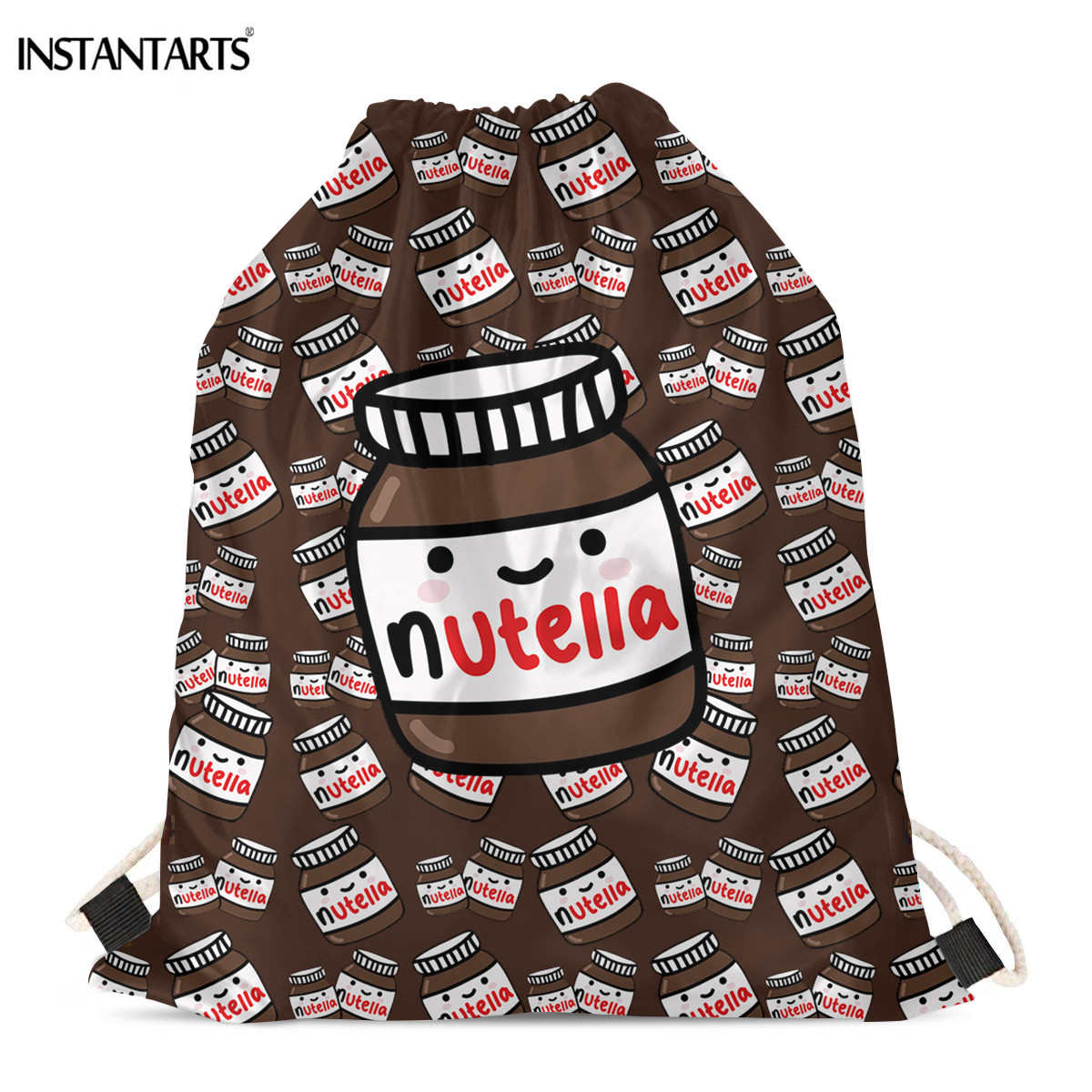 INSTANTARTS Nutella Kawaii Print Drawstrings Bags Lightweight Travel Storage Backpack Boy Girl Hiking Gym Sack Daypack Shop Bag