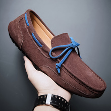 Genuine Leather Boat Shoes Men Moccasins High Quality Luxury Mens Loafers Soft Suede Leather Man Driving Shoes Male Big Size cheap CcharmiX Cow Leather Rubber man sneakers Slip-On Fits true to size take your normal size Solid Adult Breathable Massage