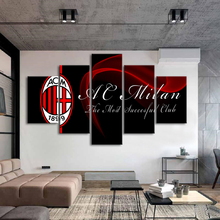 5 Pieces Canvas Art Print Sports Football Posters AC Milan Flag Paintings Printed Kids Wall Prints Home Decor Framed
