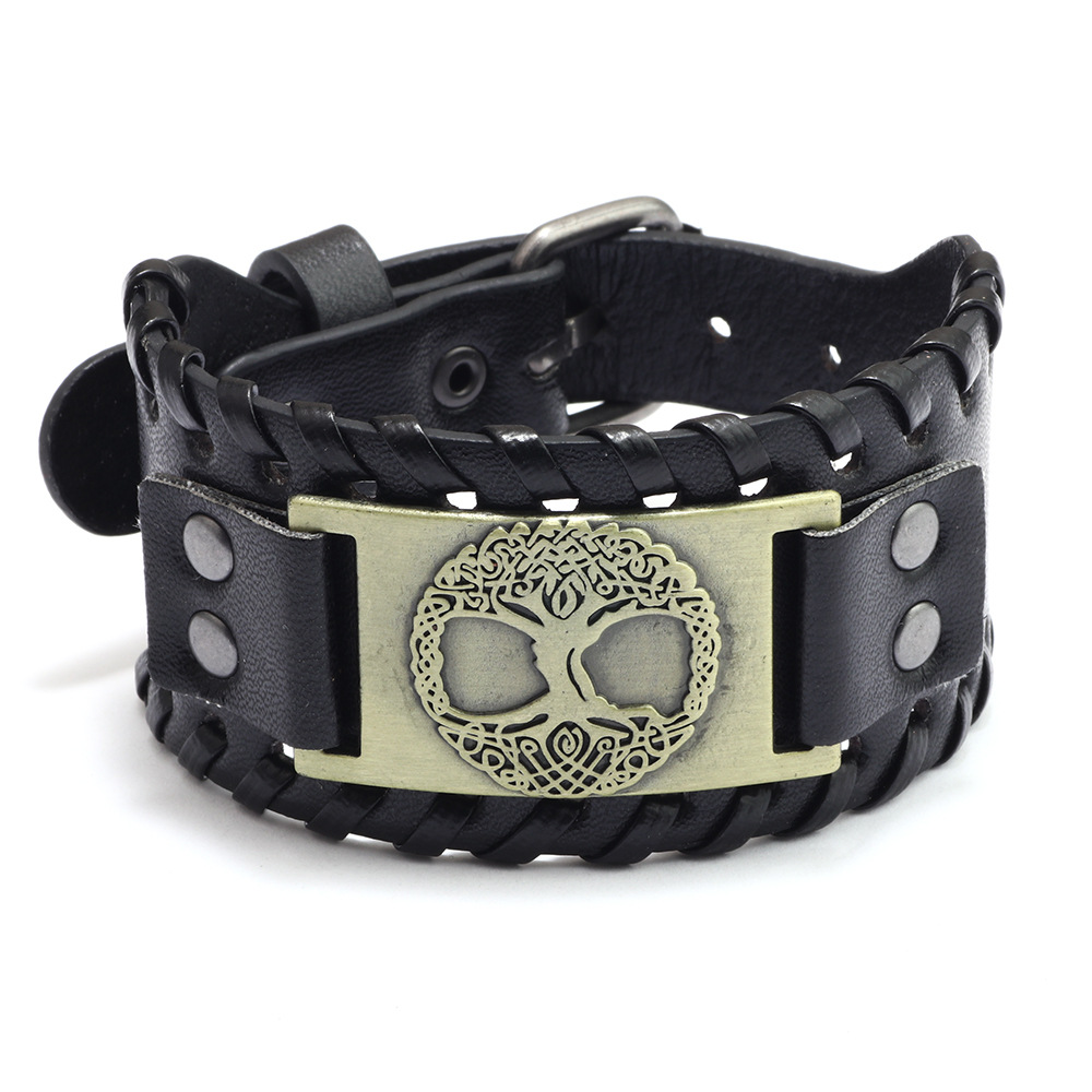 2021 Punk Style Alloy life Tree Accessories Cuff Bangle Braided Leather Bracelet Wide Wristband Men's Wealth Prosperity Jewelry