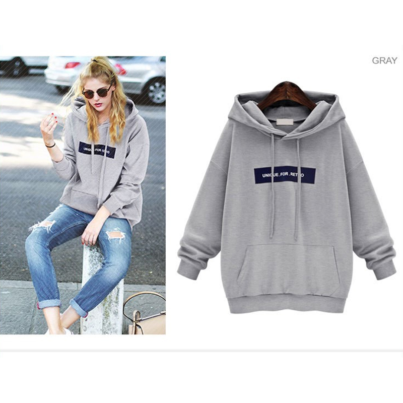 Poleron Woman With Hood Letter Print Casual Hoodies Sweatshirt Women 2019 New Winter Fleece Hooded Pullover Thick Loose Women