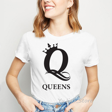 Ropa mujer 2019 letters queens princess crown printed white t-shirt femme summer top female graphic tees women tumblr t shirt