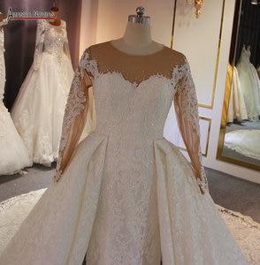 Image 2 - Luxe 2 in 1 trouwjurk full lace mermaid trouwjurk met afneembare rok
