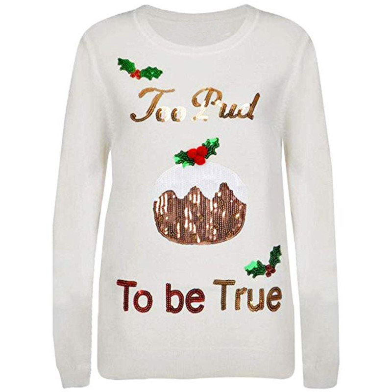 Ladies Womens Christmas Novelty Jumper Sparkly Christmas Tree Xmas Sweater Top