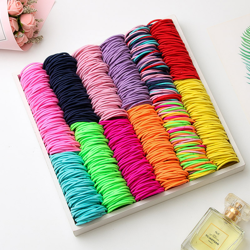 100PCS / Lot Girl Candy Color Nylon 3CM Rubber Band Child Safety Elastic Hair Band Ponytail Hair Ring Children Hair Accessories