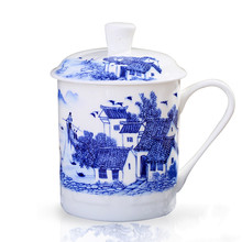 Chinese Style Bone China Jingdezhen Blue and White Porcelain Tea Cup Office Drink Water Cup with Lid Travel Teaware