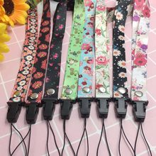 Cartoon Floral Tags Strap Neck Lanyards For Keys ID Card Pass Gym Mobile Phone Badge Holder DIY Hang Rope Lanyards(China)