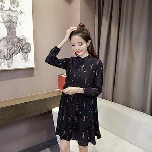 Модные платья женские 2019 Весна Длинный рукав принт шифоновое женское платье плюс размер Империя Кнопка женское Плиссированное платье 2186 50