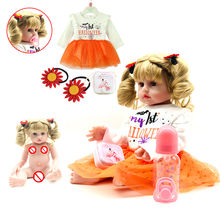 48cm Blond Curly Hair Doll Reborn Soft Silicone Reborn Baby Dolls Lifelike Menina Christmas Girl Gifts Toys(China)