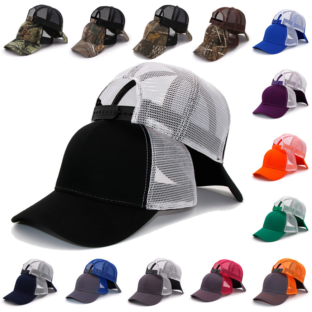 New Type Casual Solid Cotton Truck Cap For Women Men Black White Summer Baseball Cap Cool Mesh Snapback Dad Hats Free Ship