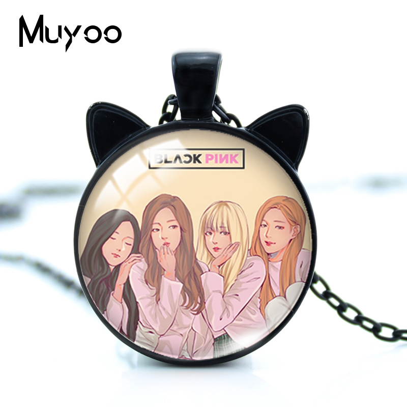 2019 New Blackpink Kpop Group Girls Cat Ears Necklace Lovely Blackpink Kpop Singers Jewelry for Fans Jewelry Gifts(China)