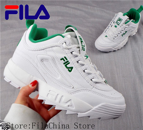 FILA Disruptor II 2 New Men And Women Running Shoes Female Sports White Green Shoes Damping Summer Outdoor 36-44
