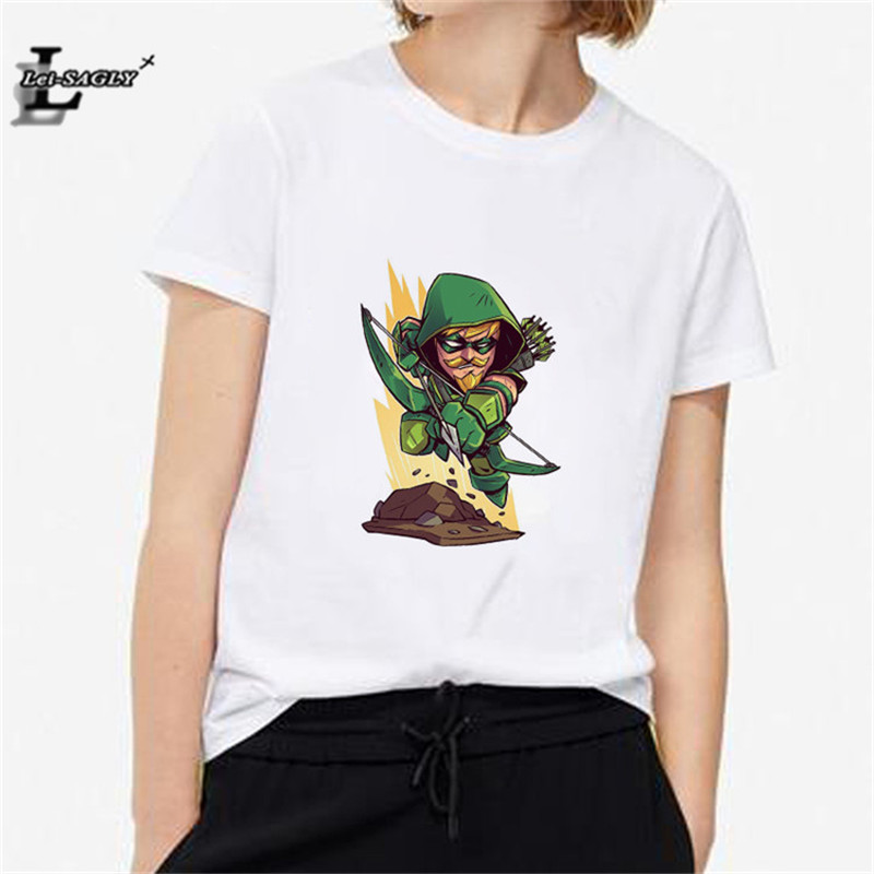 Lei SAGLY Justice League Arrow T Shirt Women Short Sleeves Tee Summer Top Fashion Superhero T-shirt female Shirt camisetas