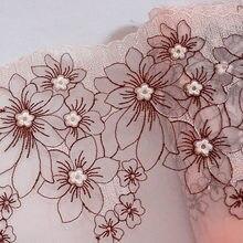 Malla de flores de ciruelo de 1 metro y 18CM de ancho suave, bordado de encaje de flores, embellecedor rosa para sujetador de lencería, cinta para vestido de muñeca