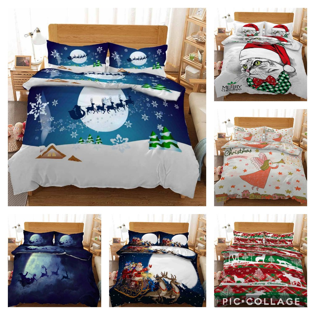 Hot Style 3D Digital Christmas Printing 100% Polyester Bedding Set 1 Duvet Cover + 1/2 Pillowcases Bed In A Bag (no Sheet).