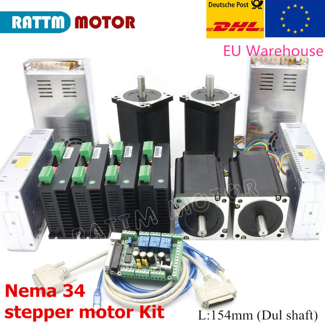 Cnc 4 Axis Kit Nema 34 Stappenmotor 154Mm (Dul As) 1600 Oz In 5A + CW8060 80VDC 6A Motor Driver + 145A 6 Axis MACH3 Board