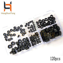 120pcs/set M2M2.5M3M4M5M6 Hexagon Nylon Nuts / black hex nut Assortment Kit Box Plastic set