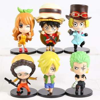 One Piece Stampede Luffy Zoro Sanji Sabo Nami Law Q Version PVC Figures Toys 6pcs/set 1