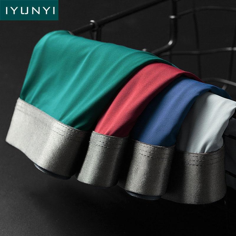 IYUNYI Seamless Men Boxers Shorts Luxury Ice Silk Antibacterial Underwear 3D Crotch U Convex Pouch Boxers Bikini Male Panties
