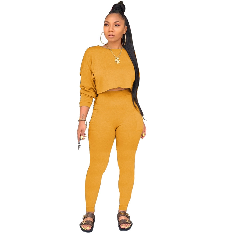 Autumn 2 Piece Set Women Tracksuit Sweatshirt Crop Top And Pants Set Leisure Suit Women Bodycon Two Piece Casual Matching Sets