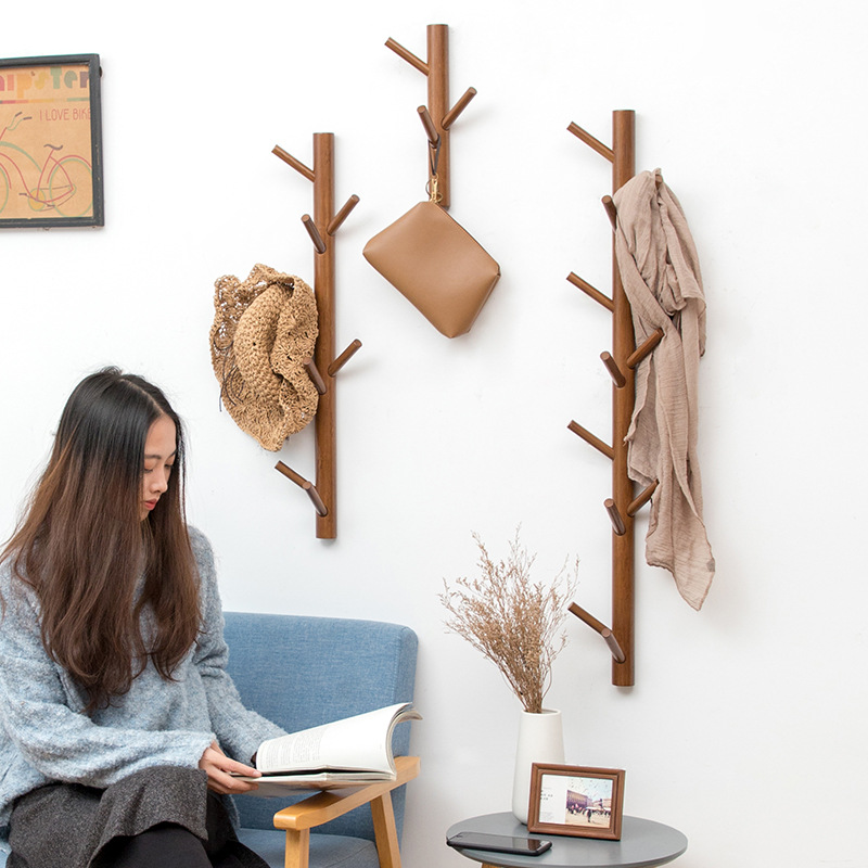 Creative Tree Hanging Rack Bamboo Wall Mounted Coar Rack Hanger Hall Entrance Decoration Hat Coat Rack Wall Decor Home Furniture