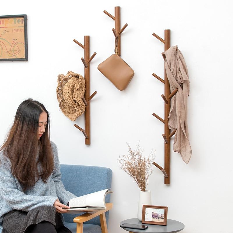 Creative Tree Hanging Rack Bamboo Wall Mounted Coar Rack Hanger Hall Entrance Decoration Hat Coat Rack Wall Decor Home Furniture