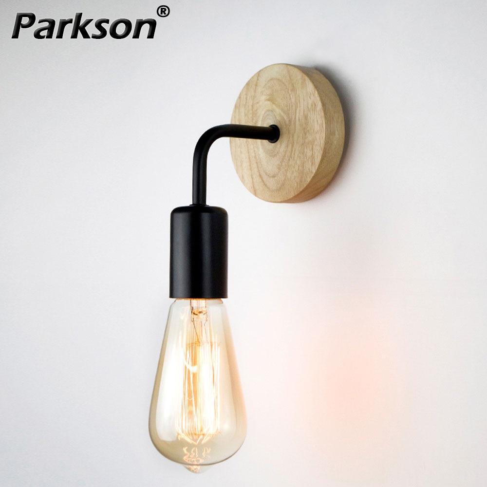 Retro Vintage Wood Wall Lamp E27 Base 110V 220V Sconce Industrial Fixtures Wall Lights For Bedroom Bathroom Lamp Indoor Lighting