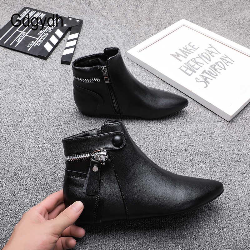 Gdgydh Seksi Fermuar Ayak Bileği Chelsea Çizmeler kadın zincir Düz Topuk Bahar Sonbahar Ayakkabı Kadın Sivri Burun Punk Siyah Damla Nakliye