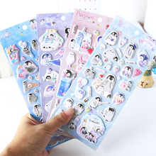 1PC Kawaii Small Penguin 3D Sponge Diary Sticker Scrapbook Decoration Stickers PVC Stationery DIY Stickers School Office Supply kawaii my neighbor totoro cartoon 3d stickers diary sticker scrapbook decoration pvc stationery stickers