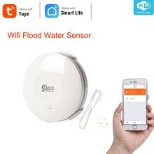 Coolcam inteligentny czujnik wody WiFi, zalanie wodą bezprzewodowy dostęp do internetu i wyciek detektor alarmu czujnik i powiadomienia o aplikacjach, nie Hub obsługiwane