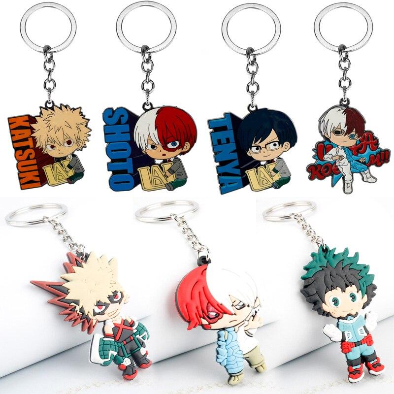 Cartoon Anime My Hero Academia Keychain Boku No Hero Academia Midoriya Izuku Deku Enamel Metal Key Chains Charm Pendant Necklace