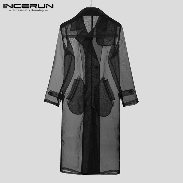 Fashion Men Mesh Trench Transparent Streetwear Long Sleeve Double Breasted Long Coats Chic Thin Outerwear Jackets INCERUN S-5XL 2