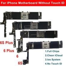 Placa-mãe para iphone 6 plus 6s 6s mais 16gb 32 64gb 128gb limpo icloud desbloquear placa lógica sem botão de casa toque id